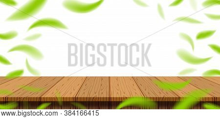 Table Plank Wood With Blur Fallen Leaves Green Fresh For Banner Background, Wooden Plank For Adverti