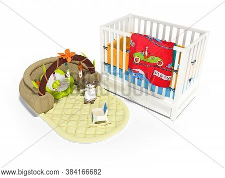 3d Rendering White Wooden Crib For Child With Play Mat With Toys On White Background With Shadow