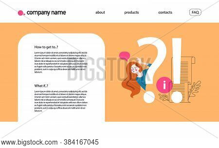 Landing Page Design Template With Frequently Asked Questions Concept. Question Sign, Confused Girl W