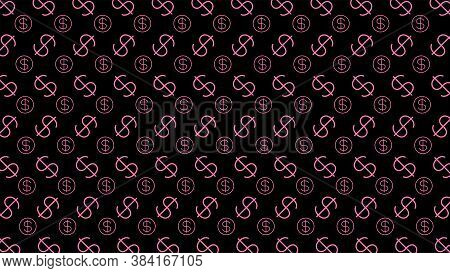 Dollar Money Sign Pink Pattern, Black Background, Usd Dollar Currency Symbol For Wallpaper, Dollar P