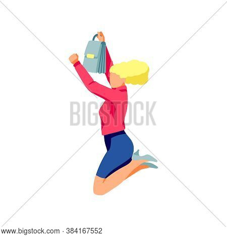Excited Businesswoman Happily Jumping. Positive Young Woman With Briefcase Celebrating Victory, Rejo