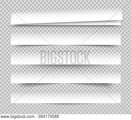 Empty White Banners With Shadow. Paper Blurb Banner. Web Vector Header. Interface With Gray Shade. B