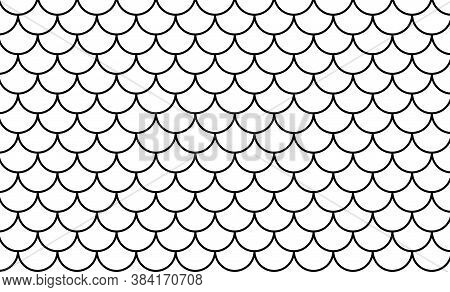Mermaid Pattern, Fish Scale Pattern Black Art Line On White Background, Mermaid Tail Pattern Black L