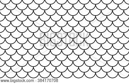Mermaid Pattern, Fish Scale Pattern Black Art Line On White Background, Mermaid Tail Pattern Black L