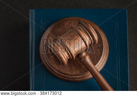 Judicial Hammer And Law Books. Human Rights Concept. Close Up. Justice And Law Concept.