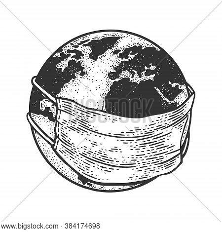 Earth Globe In Medical Protective Mask Sketch Engraving Vector Illustration. T-shirt Apparel Print D