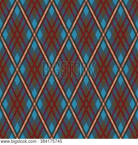 Seamless Rhombic Illustration Muted Pattern As A Tartan Plaid In Blue, Khaki And Red Hues, Texture F