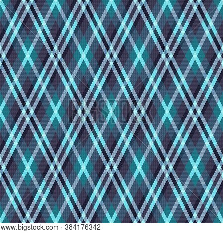 Detailed Rhomb Seamless Illustration Pattern As A Tartan Plaid Mainly In Blue And Blue Gray Hues, Te