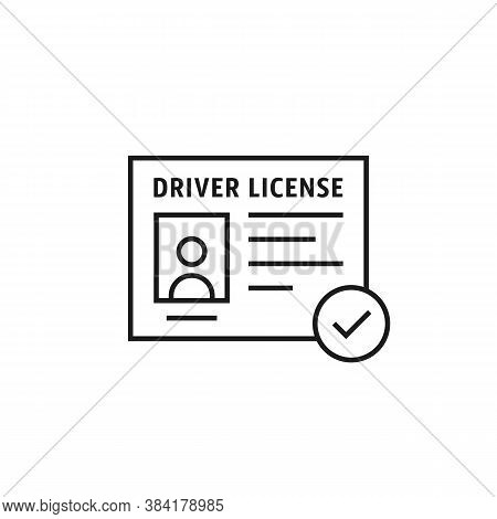 Driver License Black Thin Line Icon. Concept Of Driver S Personal Documents Or Simple Id Card With C