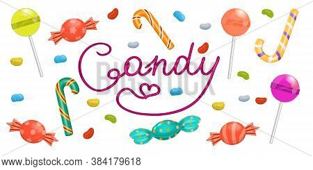 Set Of Candy Isolated On A White Background. Vector Illustration In Cartoon Style. A Variety Of Cand