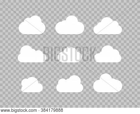 Clouds. Clouds Collection. Cloud Vector Icons, Isolated. Cloud Weather Signs. Vector Illustration