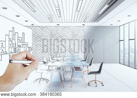 Hand Drawing Hipster Office Interior With Computer, Furniture And Blank Wall. Art And Design Concept