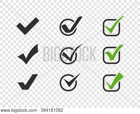 Check Mark. Check Marks Collection. Green And Black Check Mark Vector Icons. Check Mark With Circle