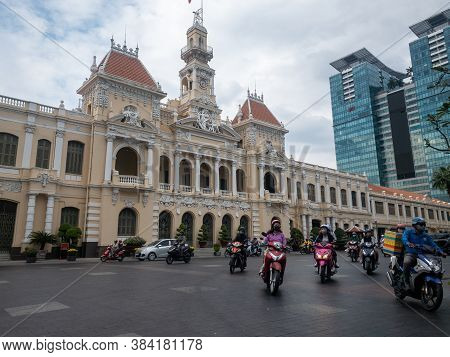 Ho Chi Minh, Vietnam - December 17,2019 : Covid People On Scooters With Facemask On In Front Of Peop