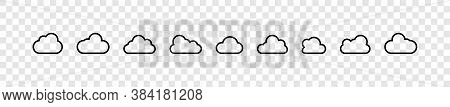 Clouds. Clouds Collection In Line Design. Cloud Vector Icons, Isolated. Cloud Weather Signs. Panoram