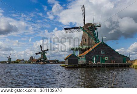 Windmills in Zaanse Schans - Netherlands - architecture background