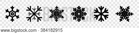Snowflakes Collection. Black Snowflakes, Isolated. Snowflake Vector Icons. Six Different Snowflakes