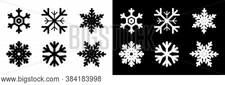 Snowflakes Collection. Black And White Snowflakes, Isolated. Snowflake Vector Icons. Six Different S