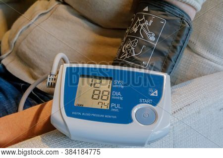 Remote Blood Pressure Monitoring. The Patient Can Check The Blood Pressure And Send The Results To T