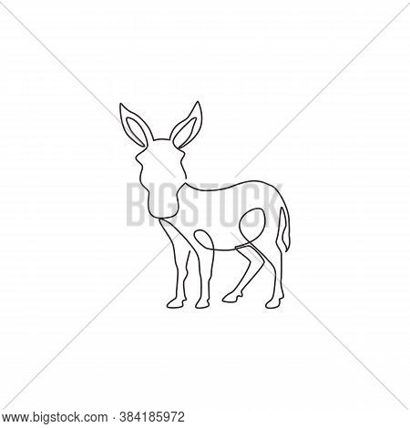 One Continuous Line Drawing Of Standing Donkey For Logo Identity. Mini Horse Size Mascot Concept For