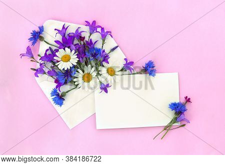 Beautiful Flowers Chamomiles, Bellflowers, Cornflowers In Postal Envelope And Blank Sheet With Space