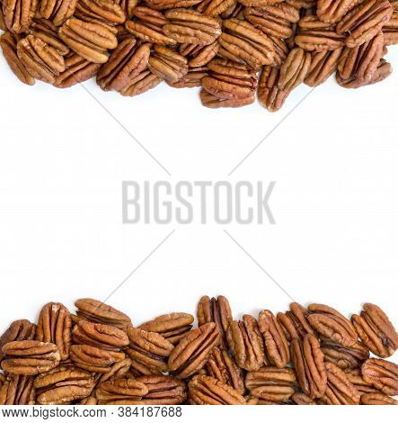 Pecan Nut Halves On White Background With Space For Text. Top View, Flat Lay