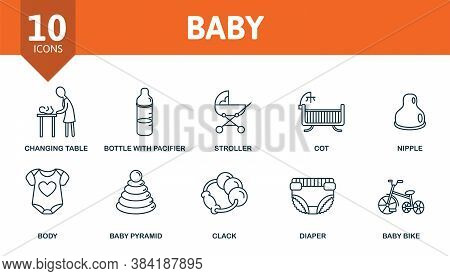 Baby Icon Set. Collection Contain Stroller, Diaper, Beanbag, Family, Child, Safety, Lollipop, Toy, D