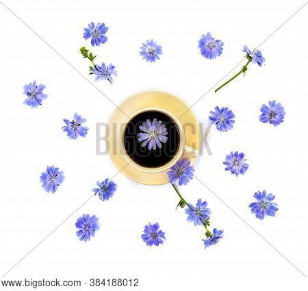 Top View Of A Cup Of Drink With Chicory And Flowers Chicory (cichorium Intybus) On A White Backgroun