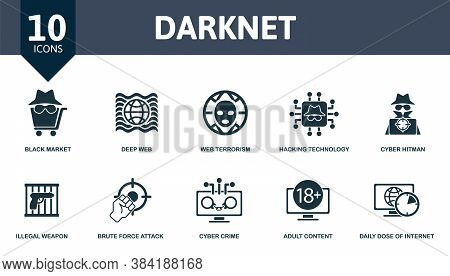Darknet Icon Set. Collection Contain Black, Market, Deep, Web, Terrorism, Hacking, Technology, Cyber