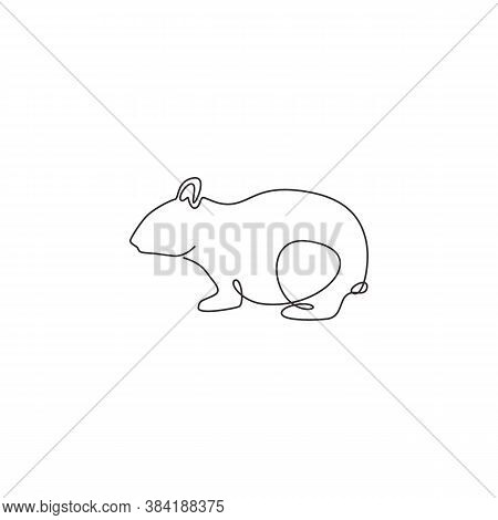 Single Continuous Line Drawing Of Funny Fat Hamster For Logo Identity. Rodent Animal Mascot Concept