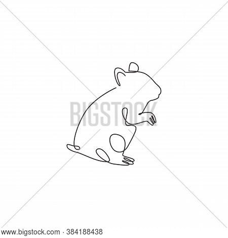 One Single Line Drawing Of Standing Cute Hamster For Domestic Logo Identity. Rodent Animal Mascot Co