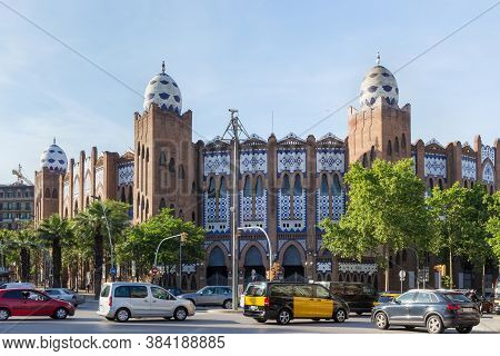 Barcelona, Spain - May 15, 2017: View Of The The Plaza Monumental De Barcelona, Often Known Simply A