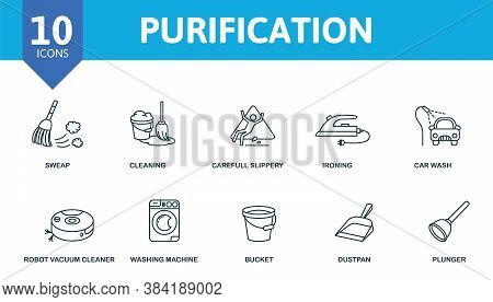 Purification Icon Set. Collection Contain Sweep, Cleaning, Gloves, Vacuum And Over Icons. Purificati