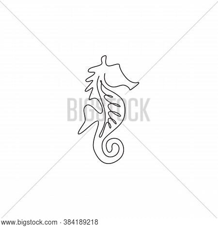 One Single Line Drawing Of Cute Sea Horse For Aquatic Logo Identity. Sea Monster Animal Mascot Conce