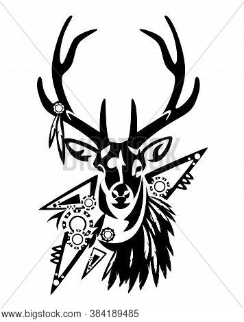 Wild Deer Stag With Tribal Style Feather Decor And Ornament Black And White Vector Head Portrait