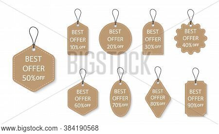 Label Of Sale. Tag For Discount And Price. Hang Paper Offer. Design For Template Of Retail. Brown Ch
