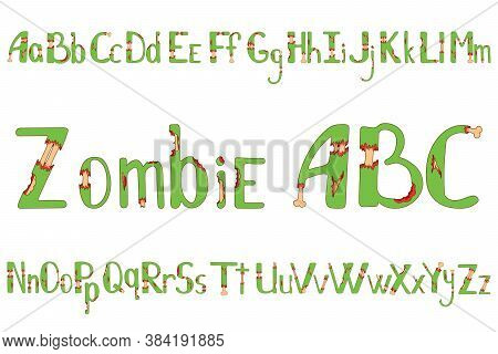 Zombie Alphabet For Halloween. Torn Wound And Bones Hand-drawn Lettering For Your Design, Banner, Lo