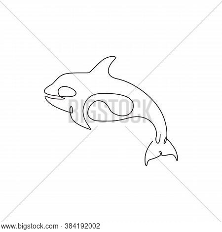 One Single Line Drawing Of Big Cute Orca For Company Logo Identity. Orcinus Whale Mascot Concept For