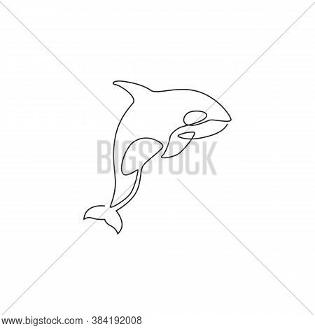 Single Continuous Line Drawing Of Big Adorable Orca For Company Logo Identity. Endangered Whale Masc