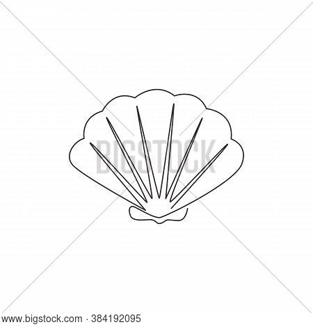One Single Line Drawing Of Beauty Scallop For Chinese Restaurant Logo Identity. Seashell Mascot Conc