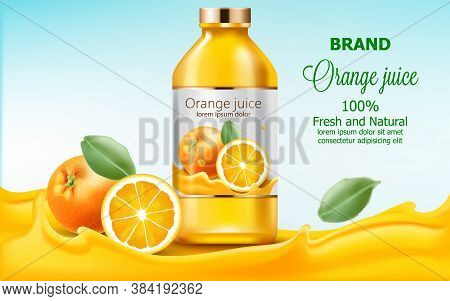 Bottle With Fresh And Natural Juice Submerged In Flowing Orange Extract. With Place For Text. Realis