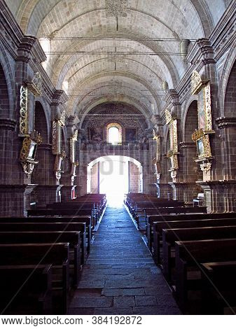 Altiplano / Peru - 06 May 2011: The Ancient Church In The Small City On Altiplano, Peru, South Ameri