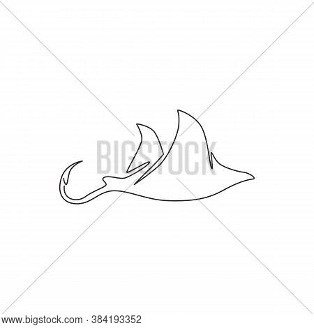 Single Continuous Line Drawing Of Adorable Stingray For Logo Nautical Identity. Sea Ray Fish Mascot