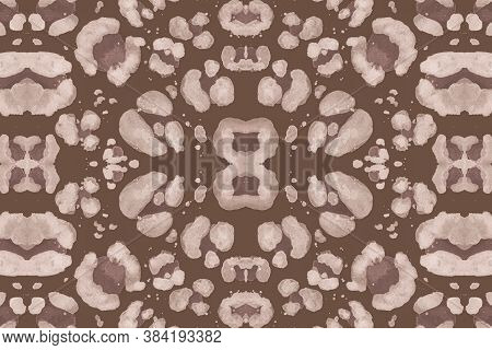 Seamless Leopard Artwork. Brown Cheetah Art Texture. Watercolour Spotted Safari Background. Fashion