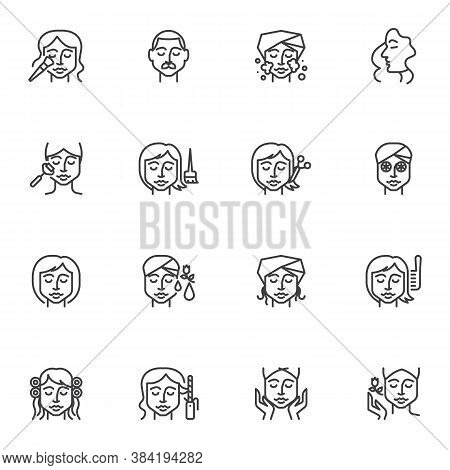Hair And Beauty Salon Line Icons Set, Outline Vector Symbol Collection, Linear Style Pictogram Pack.