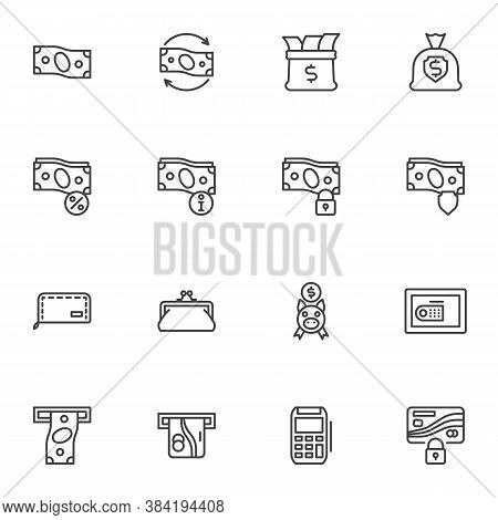 Money Related Line Icons Set, Business And Finance Outline Vector Symbol Collection, Linear Style Pi