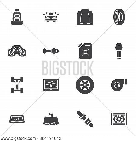 Car Parts Vector Icons Set, Modern Solid Symbol Collection, Filled Style Pictogram Pack. Signs, Logo