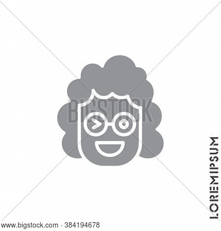 Winking Icon Girl, Woman. Smile Emoticons Isolated Gray On White Background. Vector Illustration. Wi