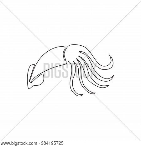 One Single Line Drawing Of Beauty Squid For Chinese Restaurant Logo Identity. Large Cuttlefish Masco