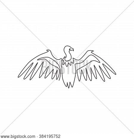 One Single Line Drawing Of Large Vulture For Zoo Logo Identity. Scavenging Bird Of Prey Mascot Conce